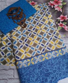 Kain Batik dan Embos 381 motif Kawung warna Biru