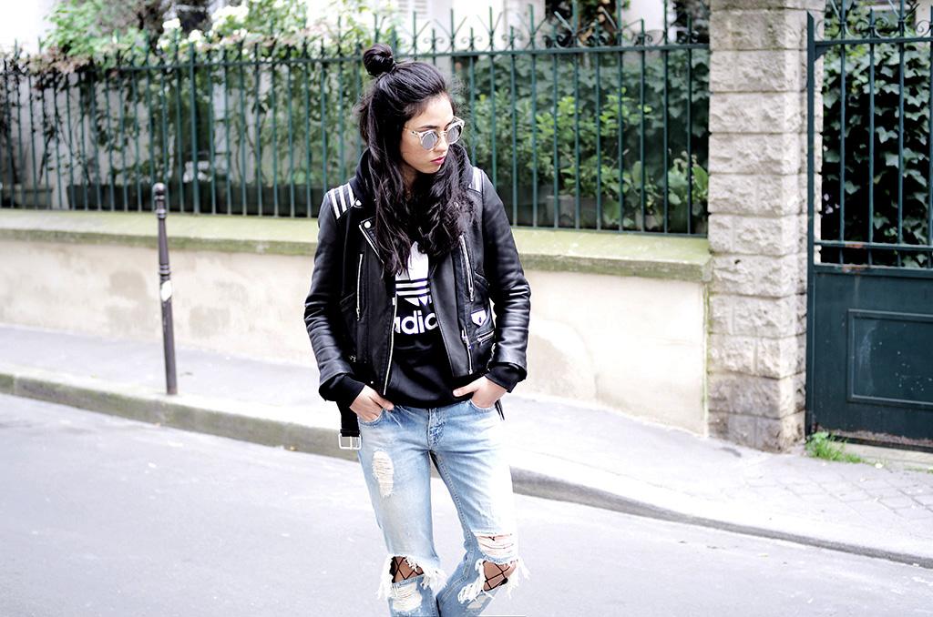 Elizabeth l Adidas sweatshirt Trefoil outfit l fishnets collant résille asos blog mode l THEDEETSONE l http://thedeetsone.blogspot.fr
