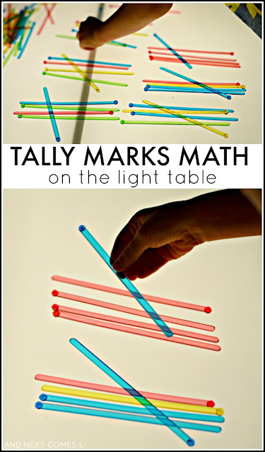 Tally marks on the light table: elementary math activity for kids from And Next Comes L