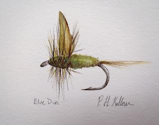 Blue Dun, Pat Kellner, P. H. Kellner, Fishing Art, Fly Fishing Art, Texas Freshwater Fly Fishing, TFFF, Fly Fishing Texas, Texas Fly Fishing