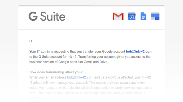 G Suite Transfer Tool Email Reqest