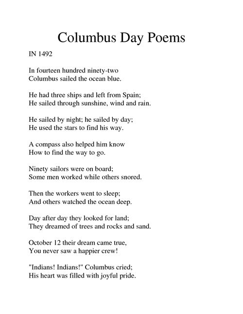 Best Free Columbus Day Poem Sailed The Ocean Blue