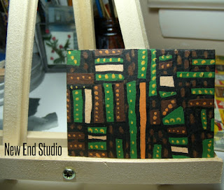 aceo blocks and dots turtle and city New End Studio