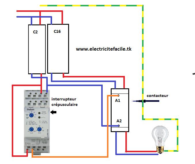 sch ma lectrique interrupteur cr pusculaire avec contacteur schema electrique. Black Bedroom Furniture Sets. Home Design Ideas