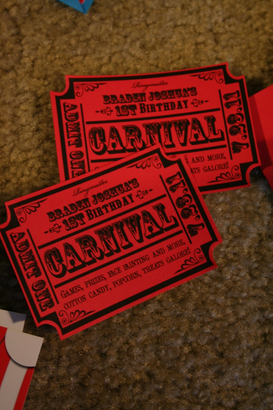 Invited By Tricia Events And Design Circus Or Carnival Ticket Birthday Invitation