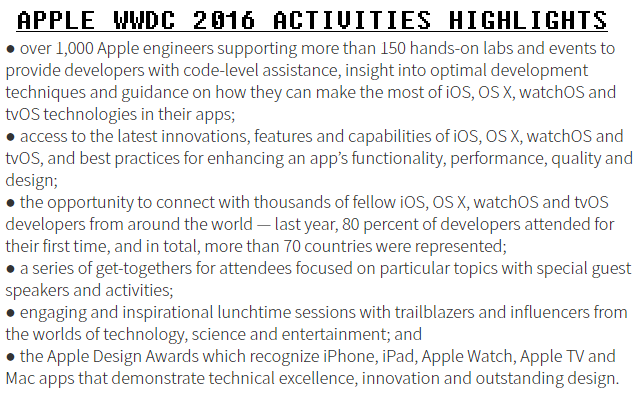 APPLE WWDC 2016 ACTIVITIES HIGHLIGHTS