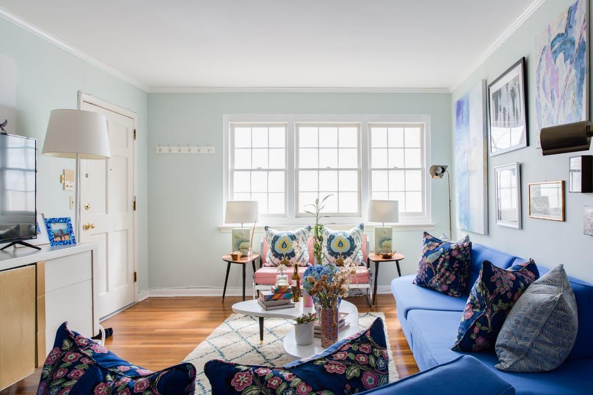 Sala De Estar Decorada Em Tons De Azul Decora O E Ideias -> Decoracao De Sala Azul
