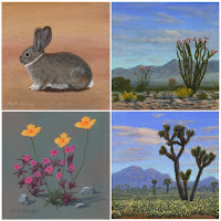 art,paintings,desert,landscape,Southwest,Joshua Tree National Park,wildflowers,flowers,desert cottontail rabbit,bunny,ocotillo