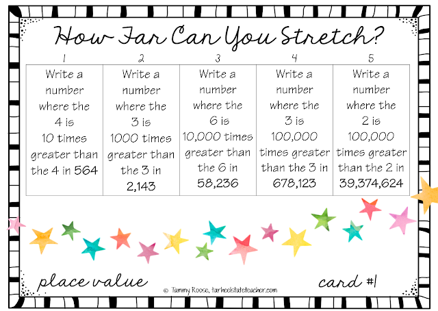 Place Value 4th Grade Leveled Differentiated Task Card