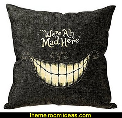 We Are All Mad Here Throw Pillow Cushion Cover