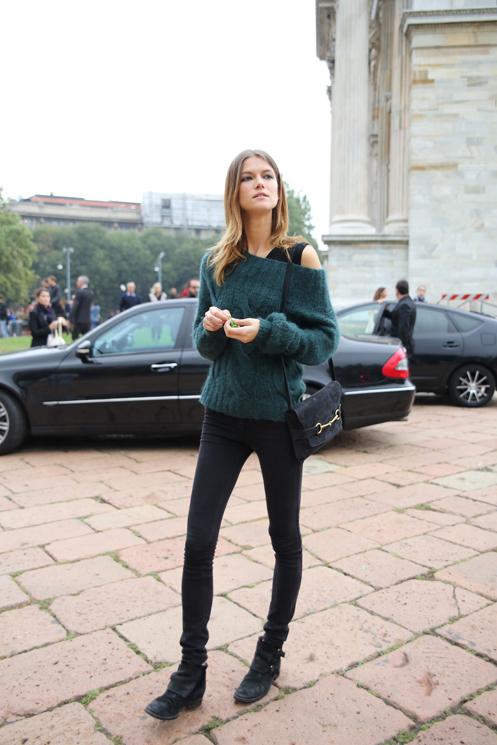Model Street Style Kasia Struss Knitwear Perfection