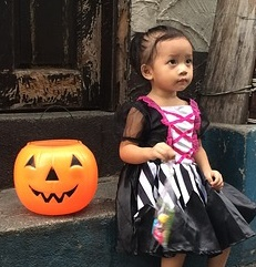 halloween costumed preschooler