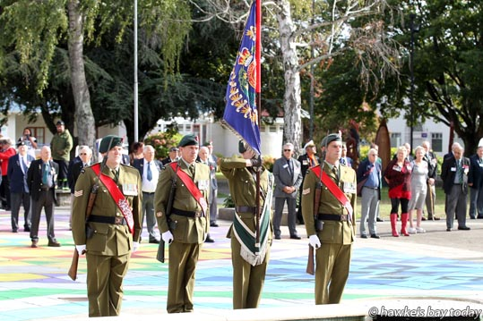 A memorial parade in Civic Square, Hastings, part of the reunion of 1RNZIR, 1 Royal New Zealand Infantry Regiment (The Originals), Gurr Battalion 1963-1965. photograph