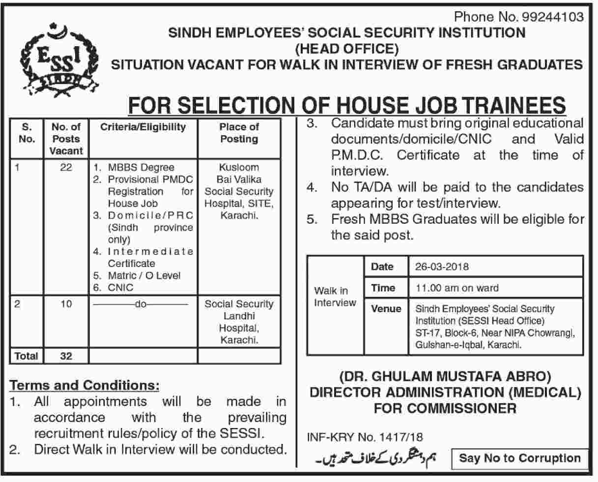 Jobs In Sindh Employees Social Security Institution SESSI Karachi 2018 for 32 Posts