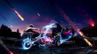 Bici futurista con luces atropellando a un coche mientras caen meteoritos