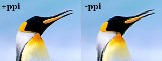 Diferença de pixels por polegada
