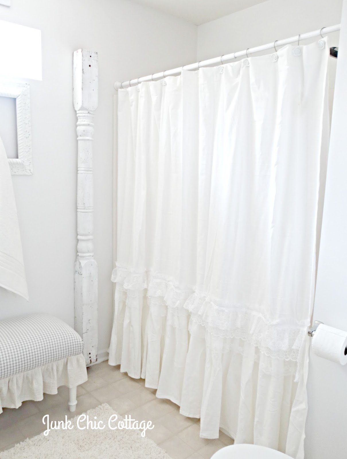 Junk Chic Cottage Ruffles Repurposed Shower Curtains Shout Out And Kitchen News