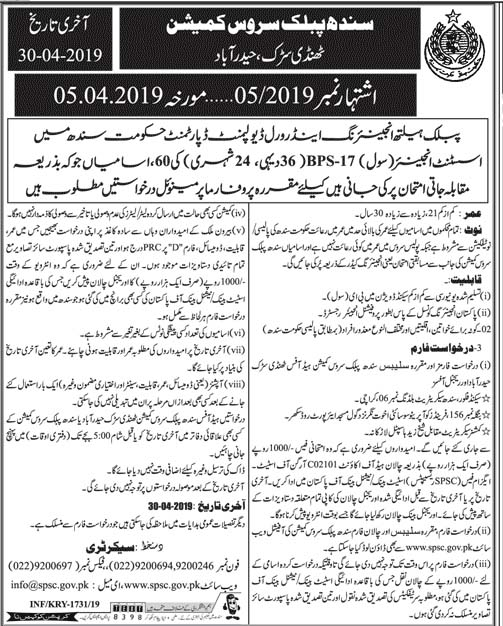 SPSC Jobs for Assistant Engineer Civil April 2019