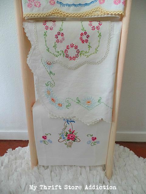 vintage linen ladder