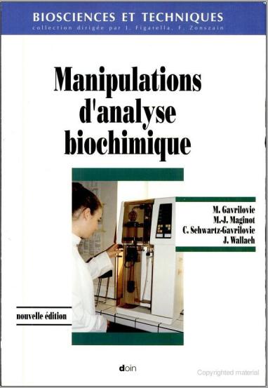 Livre : Manipulations d'analyse biochimique - Michel Gavrilovic, Doin PDF