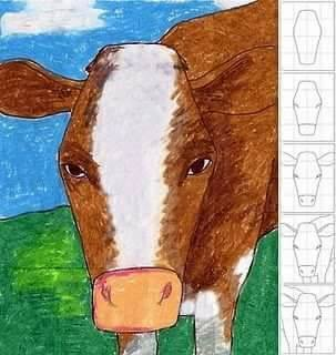 Belajar menggambar sapi untuk anak-anak