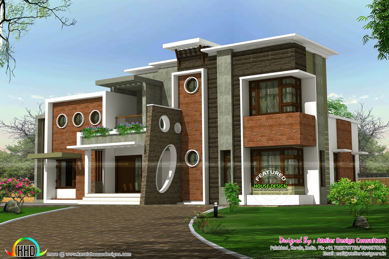 Decorative contemporary style home plan kerala home for Modern box type house design
