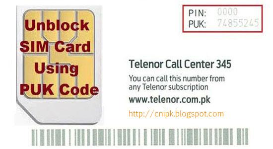 Telenor SIM PUK Code Unlock - CNIPK