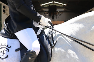 A rider's sitting on a white horse on a dressage saddle while wearing competition clothing