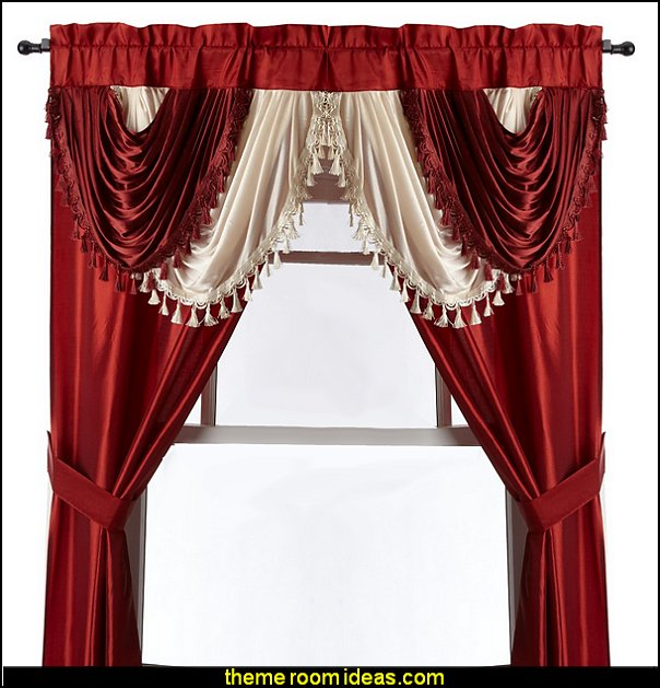 Regal Home Collections Amore  Window Set with Attached Valance  Brick