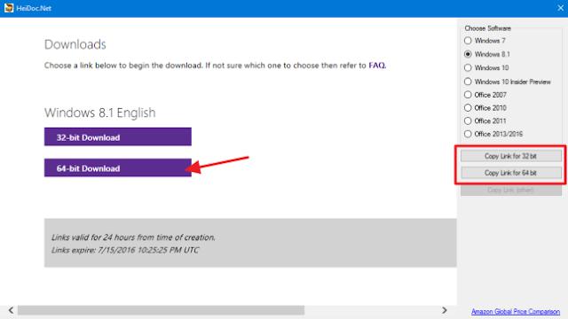 memilih versi yang cocok untuk windows yang ingin di download file isonya