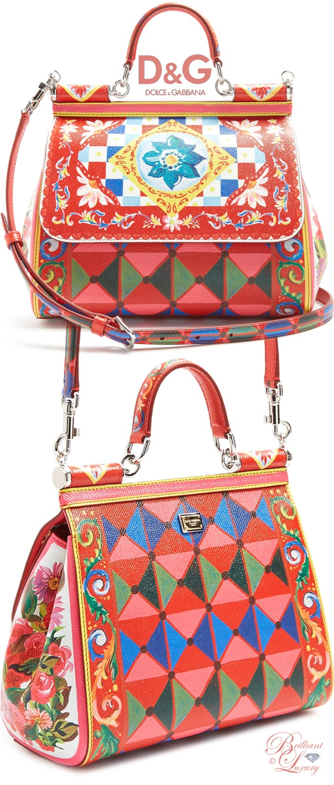 Brilliant Luxury ♦ Dolce & Gabbana Sicily medium Majolica-print cross-body bag