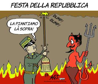 2 giugno, festa della repubblica, monarchia, vittorio emanuela terzo, savoia, vignetta, satira