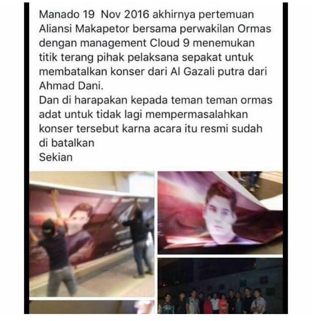 Gara-gara Ayahnya Menghina Presiden Jokowi, Akhirnya Konser Al Ghazali Ditolak di Manado