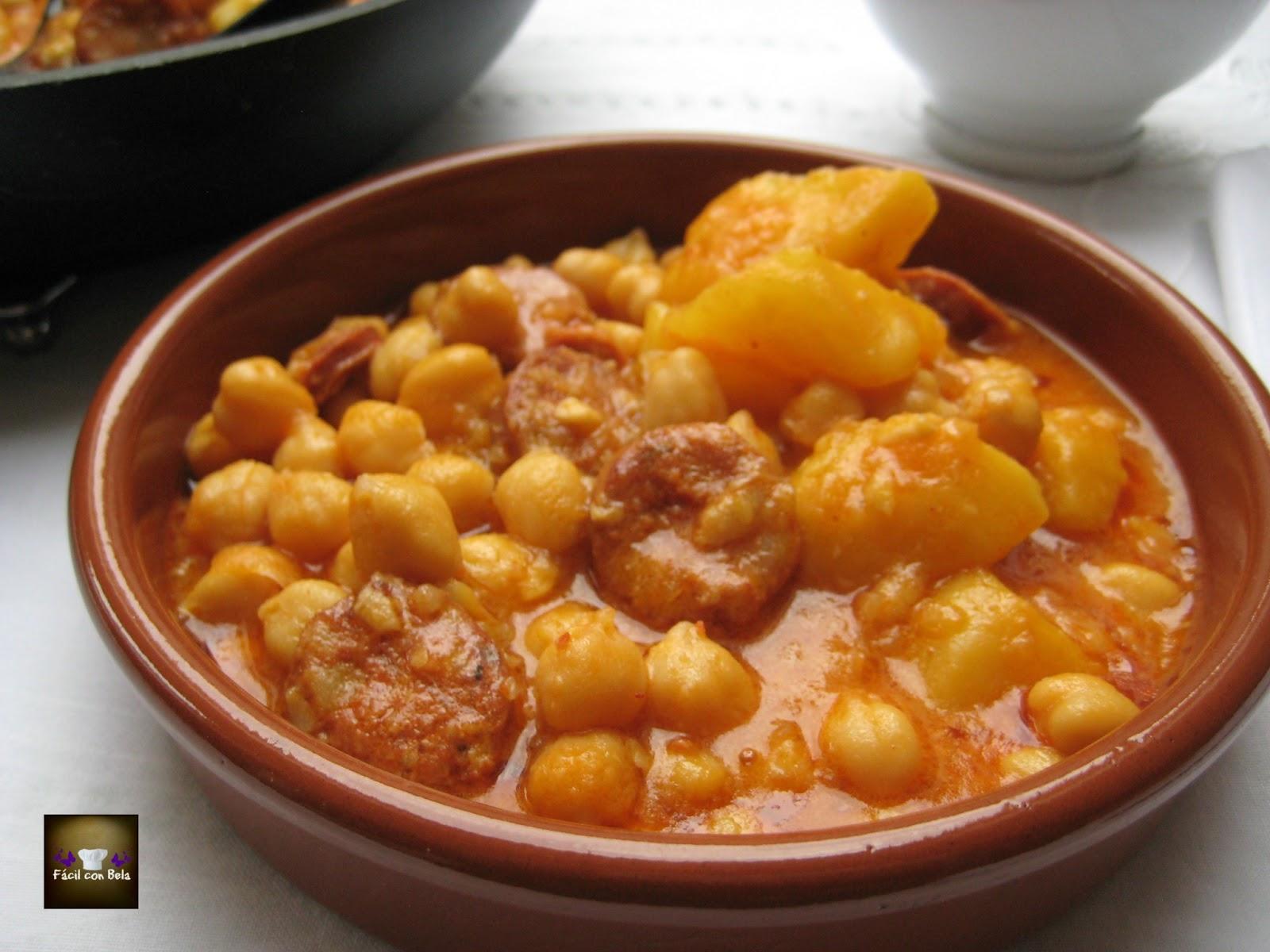 Recetas f cil con bela potaje de garbanzos con chorizo y for Cocinar garbanzos con chorizo