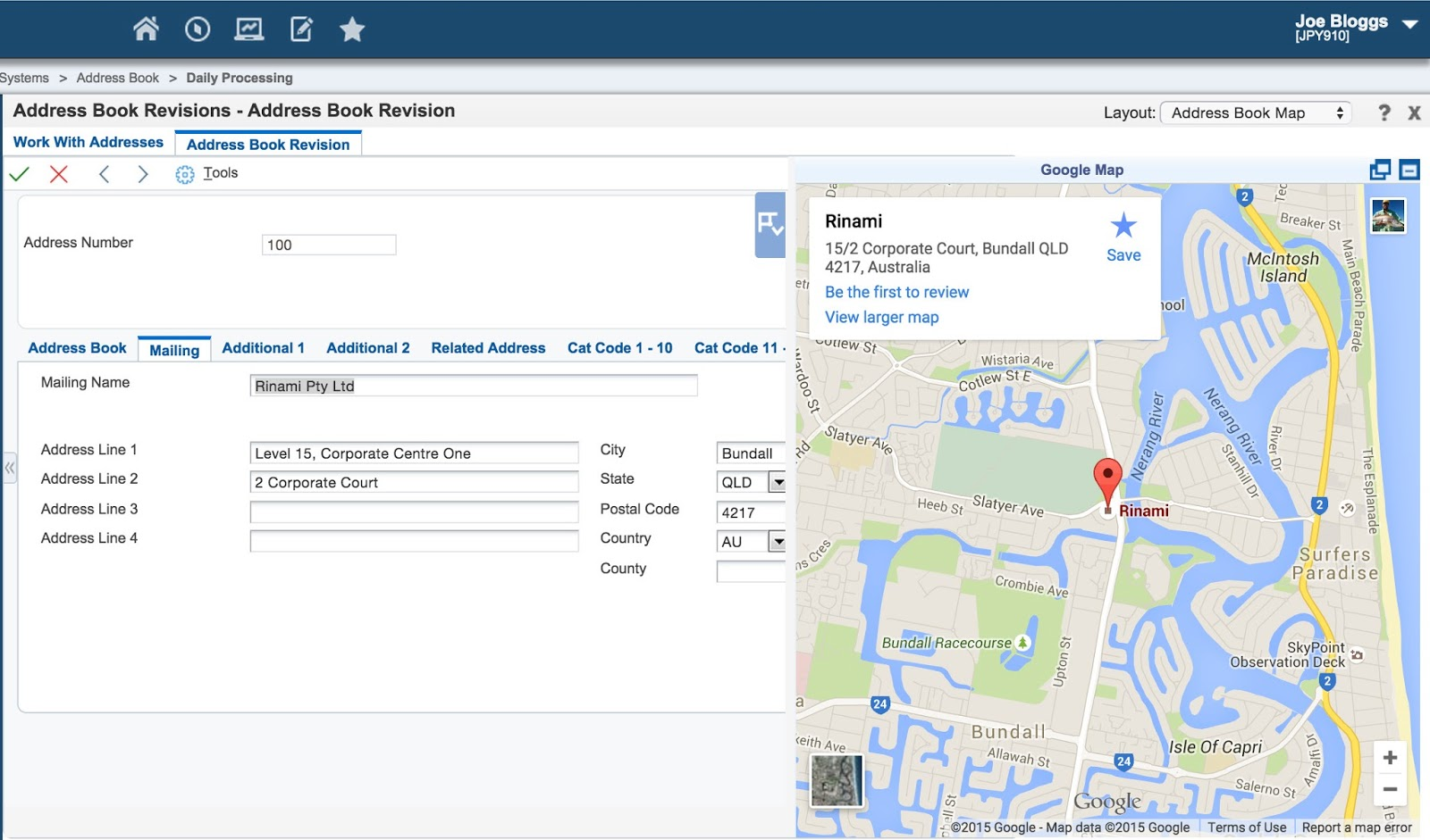 Rinami News Displaying A Google Map In JD Edwards CafeOne - Map a list of addresses