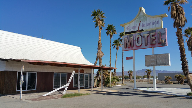 Abandoned Arne's Royal Hawaiian Motel in Baker California