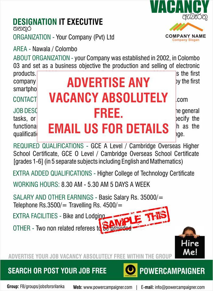 Job Alert : Advertise any Vacancy with in the group absolutely free.