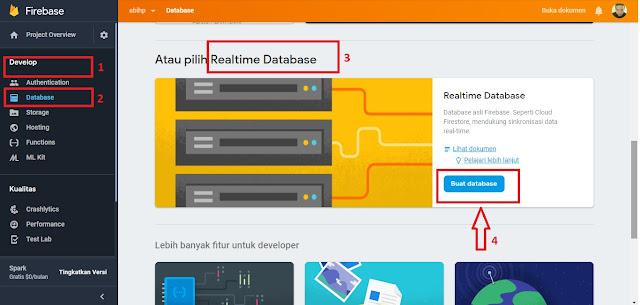 Buat database baru di Realtime untuk membuat view count.