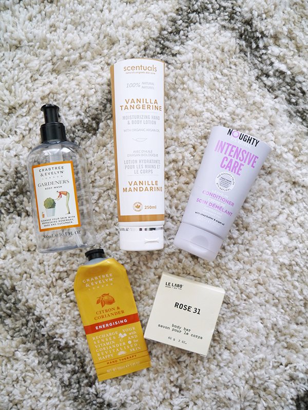 Crabtree & Evelyn body wash and hand lotion, Scentuals body lotion, Noughty leave-in conditioner, Le Labo soap