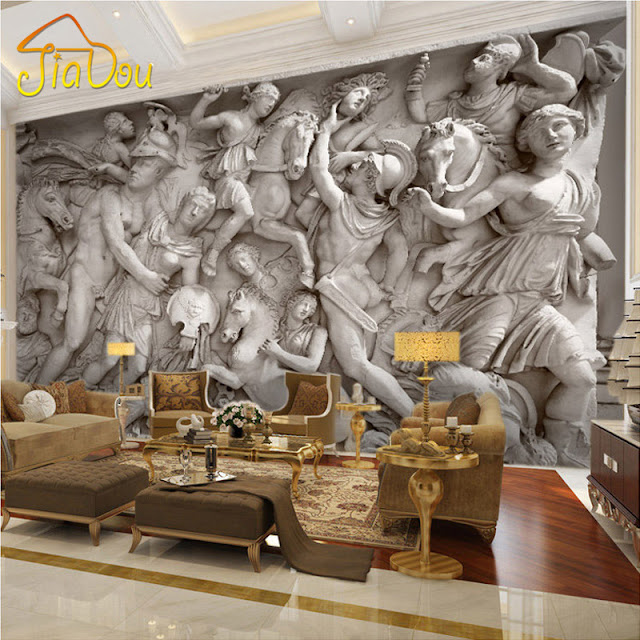 Wall Mural Ideas for Living Room 3D Roman-Statues