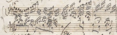 cropped scan of the same page shown above; this shows the only variation to have two running lines (right hand and left hand) above the ground bass, but the cramped notation suggests that the left hand line was possibly a late addition.