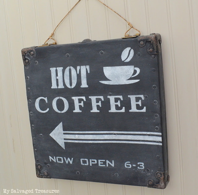 stenciled hot coffee sign with Old Sign Stencils