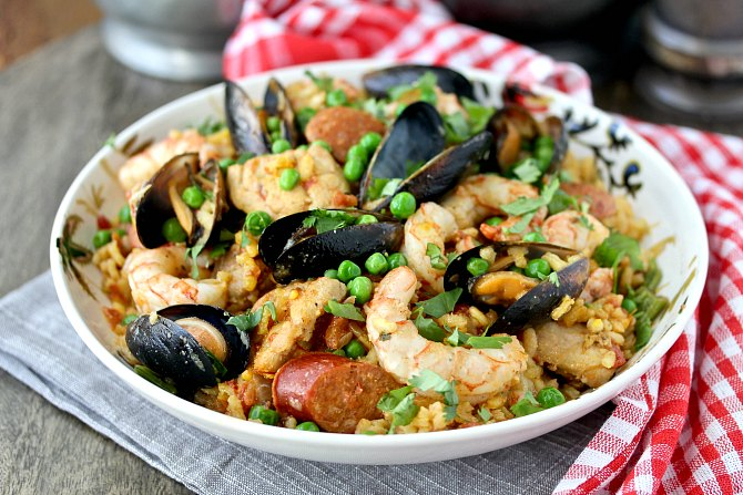 Spanish Paella with Shrimp, Chorizo, Chicken, and Mussels