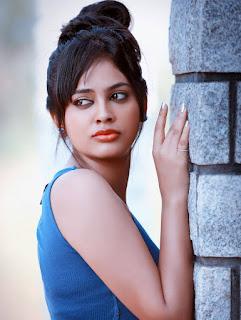Nandita Swetha Tamil Telugu Actress Sensuous Pictureshoot in Blue Tank Top