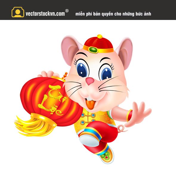 vector con chuột vàng in lịch tết