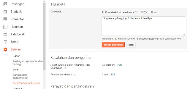 mengatur meta deskripsi blog