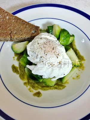 Finished Dish of Poached Egg & Brussels Sprouts on Salsa Verde