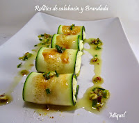 Rollitos de calabacín con Brandada