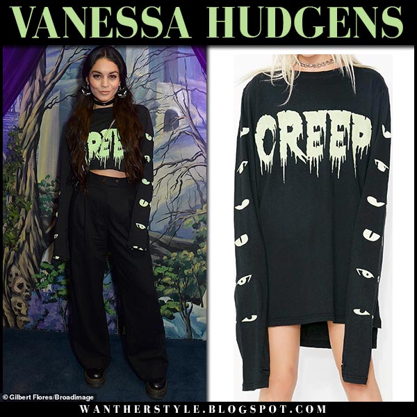 Vanessa Hudgens in black creep cropped sweater and black pants fall fashion september 28