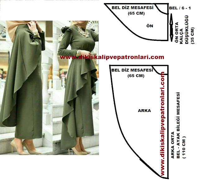asimetrik etek ve pelerin olarak kullanılan kalıp
